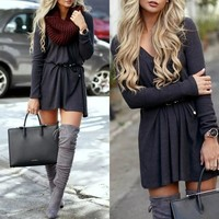 Dark Grey Plain Draped V-neck Streetwear Polyester Mini Dress