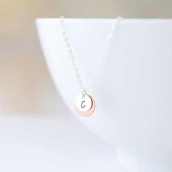 Double Disk Initial Necklace
