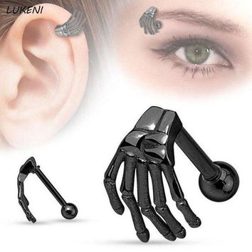 ac DCCKO2Q 1Pcs/set Hot Steel Punk Style Ghost Claws Eyebrow Rings Stainless Steel Skeleton Hand Belly Tragus Body Piercing Jewelry