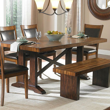 Homelegance Aberdeen X-Trestle Base Dining Table in Warm Brown