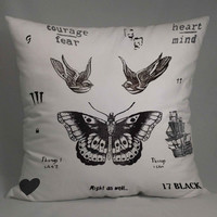 harry style one direction tattoo collage pillow case one side or two side by NyamMug