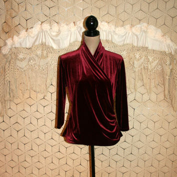 Wine Red Velvet Blouse Wrap Top 3/4 Sleeve Fall Tops Velvet Gypsy Top Bohemian Clothing Shawl Collar Burgundy Red Medium Womens Clothing