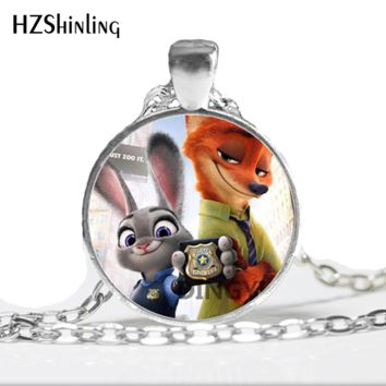 HZ--A324 Zootopia Necklace The Fox Nick and The  Bunny Rabbit Judy Animals Pendants For Kids Best Friends Pendant HZ1