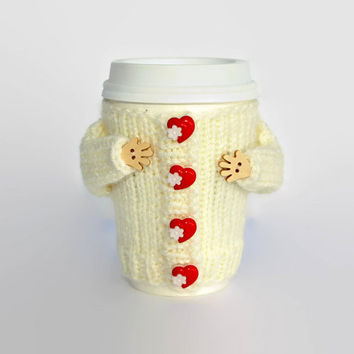 Valentine's coffee cozy. Travel mug warmer. Mug hug jacket. Heart buttons. Valentine's gift. Tea warmer. Starbucks cup sleeve. Ivory red