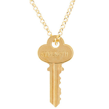 "The Giving Keys Goldtone 'STRENGTH' Key Pendant with 30"" Rolo Chain — QVC.com"