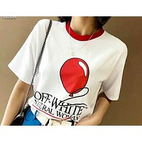 Hot fashion balloon print back embroidered round neck short sleeve N-AG-CLWM