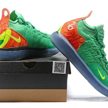 Nike Kevin Durant KD 11 Basketball Shoe -- Green/Orange