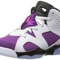Jordan 6 Retro GP Little Kids Shoes White/Vivid Pink-Bright Grape-Black 543389-127 jor