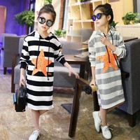 2017 teen girls spring clothes children's wear big girl leisure hooded long T-shirts fashion kids striped tops