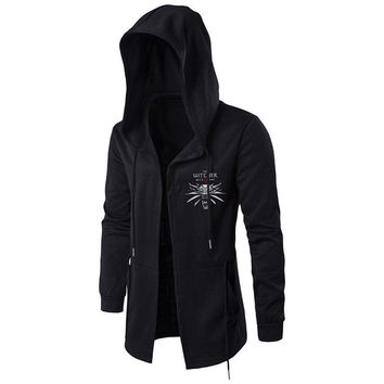 VOSTE OW Hoodie Sweatshirt Assassins Cosplay Jacket Witcher Hooded Wind Coat For Men (Large, Black 3)