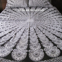 Pre-order mandala quilt cover + 2 matching pillowcases,  Boho duvet and pillows, Roundie mandala doona cover+2 pillowcases, bohemian bedding