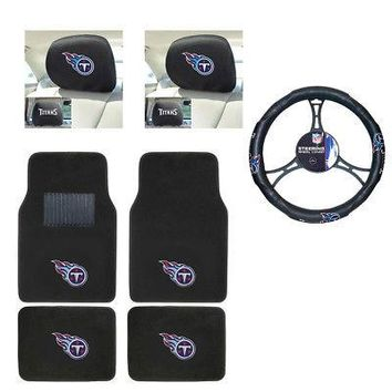 Licensed Official NFL Tennessee Titans Car Truck Floor Mats Headrest Covers Steering Wheel Cover