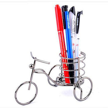 Vintage bicycle Pen holder Creative Decoration Ornament Pen container Brush Pot Metal Pencil vase for home decor Amazing Christmas gift
