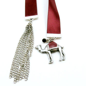 Dark Red Ribbon Bookmark | Camel Charm | Silver Tassel | Handmade | Satin Ribbon | Pretty Gift for Reader | Unique Gift for Booklover