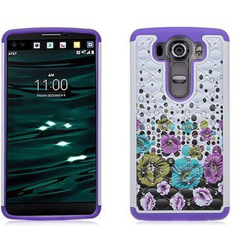 LG V10 Case, Allmet Purple Haze Bling Rhineston Armor Dazzling Diamond Hybrid Silicone Hard Stars Cell Phone Case Cover for LG V10