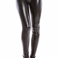 BLACK METALLIC GEL LEGGINGS