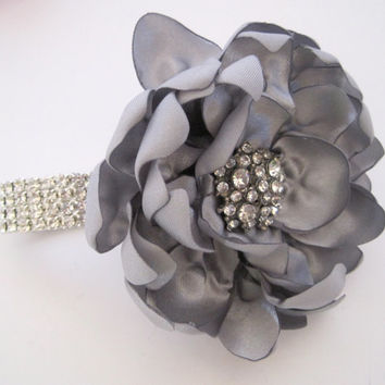 Pewter Grey  Satin Rhinestone Wrist Corsage Bracelet Bride Bridesmaid Mother of the Bride Prom with Rhinestone Accent Custom Order