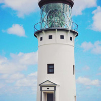 Lighthouse Photography - Kauai Fine Art Print - Historic Light House Wall Decor Photo - Scenic Hawaii - Blue White