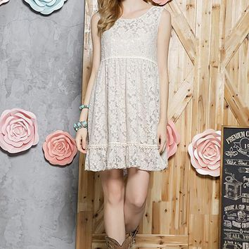Lace Tunic Dress - Taupe