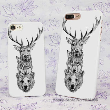 deer wolf bear tattoo Design hard White Skin Case Cover for Apple iPhone 7 6 6s Plus SE 5c 5 5s 4 4s