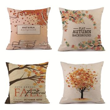 45 * 45cm Thanksgiving Gifts Pillowcase Happy Fall Pillow Cover Home Decoration dekorative kissen almofada europ ischen