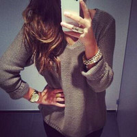 New Ladies Sexy V-neck Long Sleeve Winter Smart Jumper Pullover Top Sweater [8401115783]