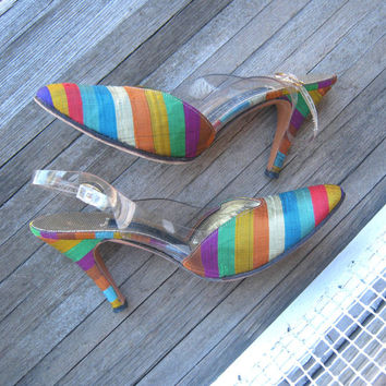 Vintage Rainbow Stripe Designer Pumps by Alexander Greene - Purple/Green/Red/Blue Stripe Fabric Pumps - '80s Lux Heels