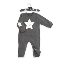 Elegant Baby Star Motif Jumpsuit and Hanger in Grey