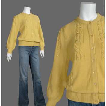 Vintage 40s Cardigan - Beaded Cardigan Sweater - Yellow Gold Wool 1940s sweater - Cable Knit Puff Sleeve Beaded Sweater - ON SALE