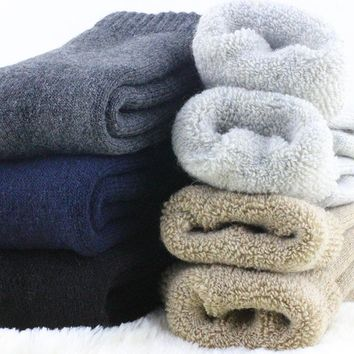 1 lot=3 pairs=6 pieces Wool socks warm socks plus thick velvet solid color thickening winter wool socks Men's socks winter