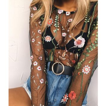 Sexy Floral Embroidery Transparent Fashion Long Sleeve Top