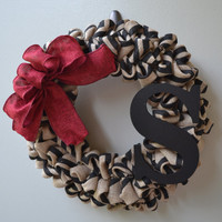 Black and Red Burlap Wreath -  Initial Wreath - Monogram Wreath - Black Wreath - Red Wreath  - Summer Wreath - Chevron Wreath
