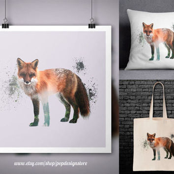 Red Fox Double Exposure Nature Landscape Animals Print Poster Tote Bag Mug Frame Pillow Case - Digital File for Download PNG High Quality