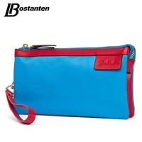 BOSTANTEN Canvas Women Clutch Wallets Panelled Lady Purse Long Coin Wallet Zipper Cell Phone Card Holder Wallet Female Wristlet