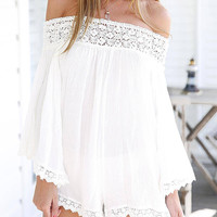 White Long Sleeve Off The Shoulder Romper