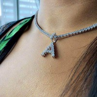 Diamond Letter Pendant & 3mm Tennis Chain in Yellow & White Gold