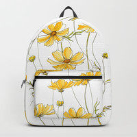 Yellow Cosmos Flowers Backpack by jrosedesign