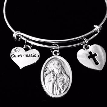 Confirmation Jewelry Saint Peter Adjustable Bracelet Silver Expandable Bangle Medal Catholic Gift
