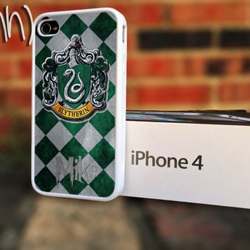Harry Potter iPhone 4 or 4S Slytherin Crest School Crest Personalize Case