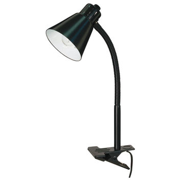 """Nuvo Lighting 13"""" H Basic 1 Light Goose Neck Clip-On Table Lamp with Empire Shade 