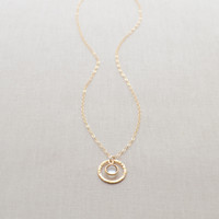 Birthstone inside Circle Charm Necklace