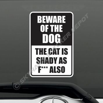Funny Beware Of Dog Crazy Cat Sticker Joke Prank Window Warning Sign Sticker Gag