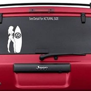 VW VOLKSWAGEN SUFER GIRL VINYL STICKER DECAL GTI JETTA GOLF BEETLE VAN SURFBOARD