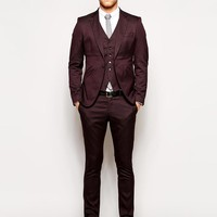 Selected Burgundy Skinny Suit at asos.com