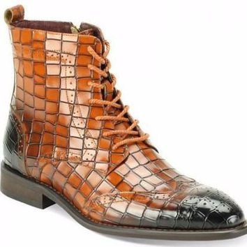 "Giovanni ""Corbin"" Side Zipper Snake Print Wingtip Boot"