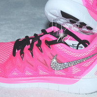 NEW Style NIKE run free 5.0 2014 running shoes w/Swarovski Crystals detail - Pink Pow