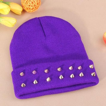 Gothic Punk Industrial Emo Edm Ebm Rave Rock Metal Stud Bullet Autumn Winter Warm Womens & Mens Knitted Beanie Purple Cuffed Skully Hat