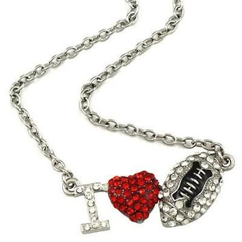 "*[N/L]-Silvertone Bling ""I Heart Football"" Necklace- Silvertone"