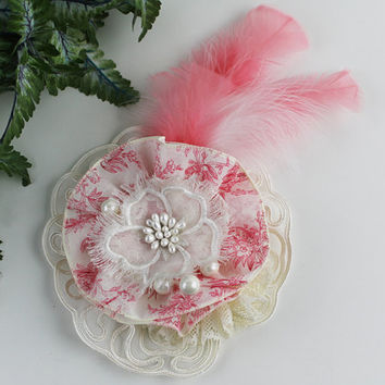 Extra Large Coral Flapper Shabby Chic Sew On Flower Applique Pin Brooch Lace Flower Linen Flower Victorian Millinery Flower Embellishment