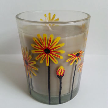 Sandalwood Candle, Hand Painted Candle, Red and Yellow Flowers, Handpainted Daisies, Home Decor, More Scents Available!